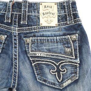 Rock Revival Destin Distressed Dark Capri Jeans